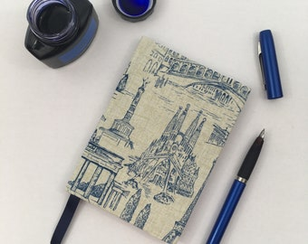 A6 Lined Notebook Hand Covered in a Contemporary Travel Famous Landmark Themed Fabric