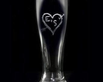 Custom Pilsner Beer Glass, Heart and Arrow, Wedding Gifts