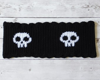 Skull cowl - lacey skull cowl - skull wrap - skull neck warmer - skull scarf - lace skull scarf - lace cowl - lace scarf - black and white