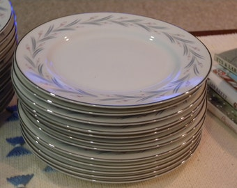 Twelve Vintage Salad Plates ~  MODAR Japan Fine China Dinnerware Mid Century Modern 7243