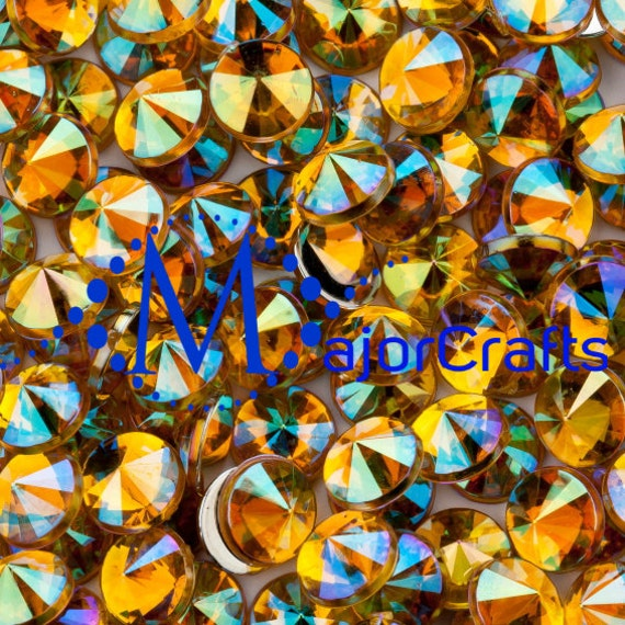 Yellow Gold AB Flat Back Pointed Rivoli Acrylic Rhinestones Embellishment Gems - C2