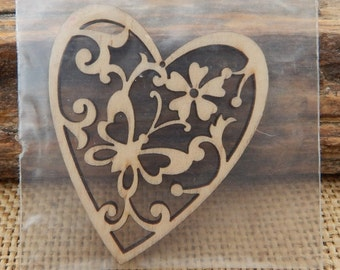Laser Cut Wood Heart with Butterflies and Flowers Embellishment  ~  Laser Cut Heart Craft Supply  ~  Laser Cut Heart Embellishment  ~  Heart