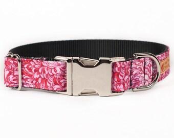 Pink Dog Collar for Girls - Spring Dog Collar - Flower Dog Collar - Girl Dog Collar - Chain Martingale Dog Collar - Silver Buckle