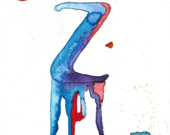 "Original Watercolor ""Letter Z"""