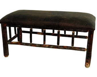 Rustic Hickory Upholstered Bench with Spindles