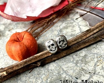 Skully Earrings - Sterling Silver Skull Post Earrings - Handcrafted - Boho - Gypsy - Goth - Halloween - Stud
