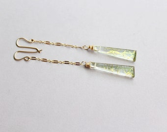 Golden rutilated Quartz earrings, boho wedding earrings, long Gold earrings dangle, tourmilated quartz chain earrings, bridal gold earrings