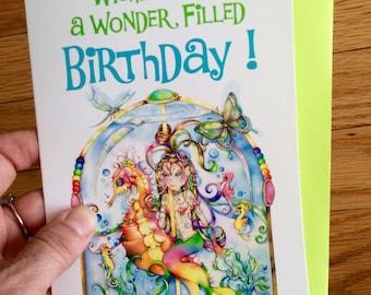 Linda Biggs mermaid Birthday Card 5x7