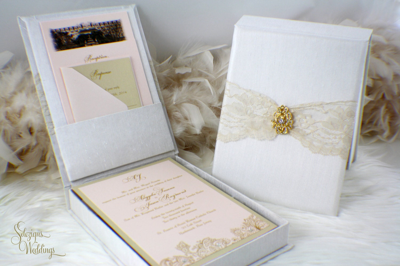 Box invitation Vintage Wedding Invitation Lace Invitation