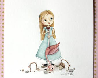 Alice and the part of croquet, pencil and gouache illustration