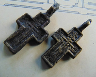 Antique old cross.Russian Orthodox pendant. Christian cross.Of The Orthodox Church. Set of two pieces.