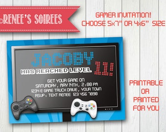 VIDEO GAME Birthday Invitation - Printable Gamer Invite - Customizable DIY Gaming party