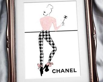 Chanel Coco Rico print, Chanel Fashion Illustration, Chanel illustration, Chanel Wall Art, Chanel Print