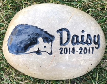 """8"""" HEDGEHOG MEMORIAL 4 Designs Stone (approx. size) Engraved Personalized with Name Option to add Date"""