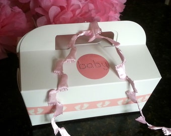 PREMIUM 12- Gable CAKE BOXES Baby Girl FootPrint Princess Pink Food To Go w/ Handle 1st Birthday, Christening, Personalized Baby Shower