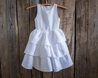 Ruffle Dress, Summer dress, Girl clothing, Flower girl dress, Girls linen dress, Party dress, Birthday dress, Ruffles, Dress, Toddler dress