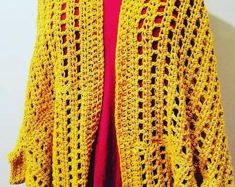 Mustard Crochet Shrug