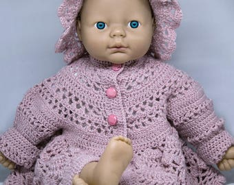 Very Beautiful Soft Pink Baby Girl Hand Knitted Warm Woolen Set- includes hat and cardi
