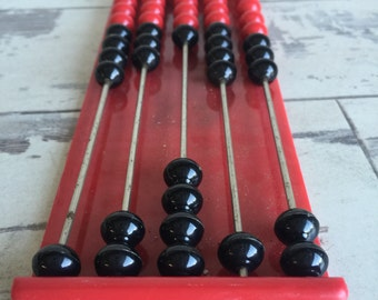 Vintage Abacus Calculator - Hard Plastic Black and Red