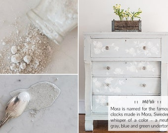 """One quart of powdered milk paint in """"Mora"""" -a pale blue/gray/green color that can look entirely different depending on what it's next to."""