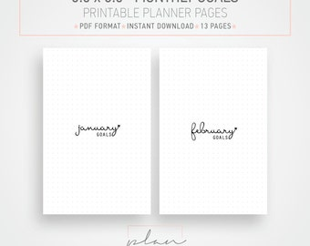 Printable planner inserts 5.5 x 8.5 inserts Half letter Monthly goals Mind map Bullet journal Minimal planner pages Instant download