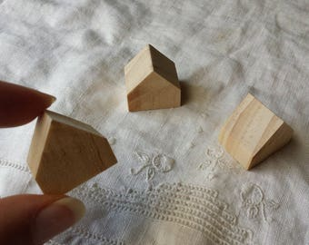 3 miniature wooden houses | natural wood houses | little houses for crafts | miniature cottages | mini houses | doll house | assemblages