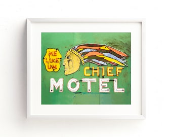 "motel sign, vintage neon sign, large art, large wall art, canvas art, wall art canvas, large canvas art, retro decor - ""The Chief Motel"""