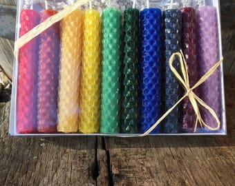 "Beeswax Candles -Set of 10 rolled rainbow colored candles  - 4"" tall"
