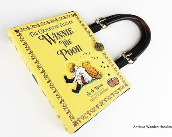 Winnie The Pooh Leather bound Book Purse - Winnie The Pooh Collector Gift - Winnie The Pooh Book Cover Handbag - Purse made from a book