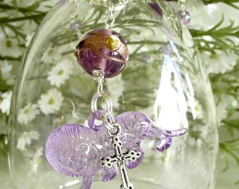 Lavender Lion with Cross Anglican Rosary Bracelet - February Birthstone