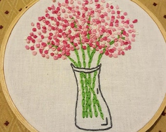 Pretty 'n' Pink, pink flowers in a vase, hand embroidered,  hoop art