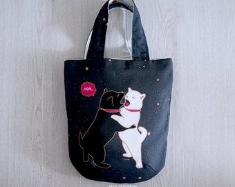 Shiba Inu Puppies Mini Bag // Round Bottom // Handmade // Limited Edition