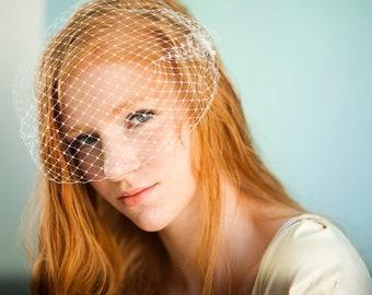 "Bridal Bandeau veil wedding ivory short veil Blusher ivory cage Bandeau veil ivory lace comb french netting veil russian Birdcage Veil 9"""