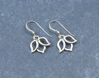 Silver Lotus Blossom Earrings on Sterling Silver Ear Wires, Lotus Flower Jewelry, Lotus Blossom Charms, Gift for Her