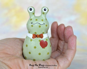 Handmade Slug Figurine, Miniature Sculpture, Green Dotted and Red Bowtie, Hug Me Slug, Animal Totem Charm Figure, Personalized Tag