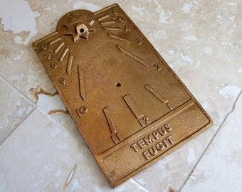 Brass sundial, vintage sundial, Tempus Fugit, time flies, heavy brass sundial plaque, hanging sundial, Replogle Globes, garden decor