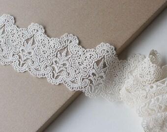 """Beige-Natural scallop 3"""" cotton lace-mesh trim"""