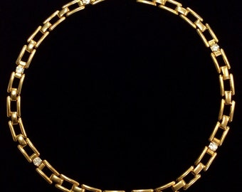 Gorgeous Vintage Gold Tone Link Necklace With Rhinestones