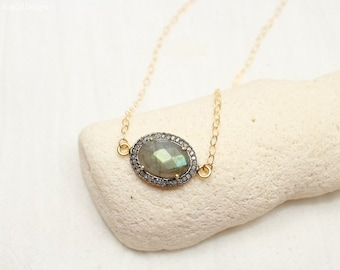SALE Labradorite Pave Diamond Necklace, Oxidized Sterling Silver, Mixed Metals, Genuine Diamonds