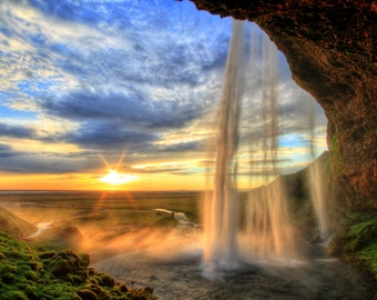 Waterfall Sunset Vibrant Picture Print on Acrylic or Canvas  Photo Home Wall Decor