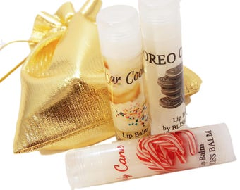 Natural Lip balm gift set for women Lip balm favors Oreo/Sugar Cookie/Candy Cane Thank you gifts employees/Coworkers/Appreciation gifts
