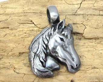 Horse Pendant, 35x24mm Single-Sided Horse Head Pendant, Jewelry Supplies, Item 162p