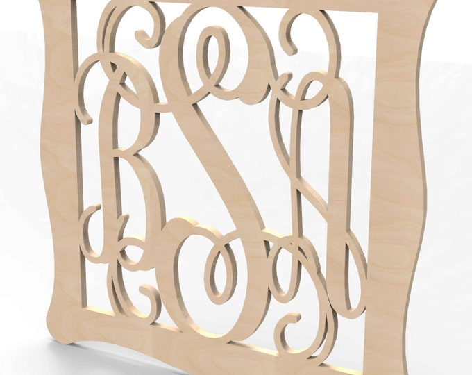 "3 Letter Monogram Door or Wall Hanger w Sculpted Frame 30"" tall Custom Made."