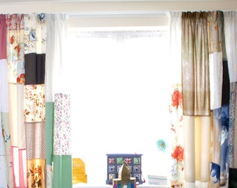 Patchwork Curtains Boho Bohemian Curtain Hippie Cottage Chic Decor Shabby Chic Colorful Kids Curtains