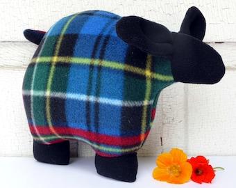 Plaid sheep stuffed animal, stuffed sheep, snuggly stuffed lamb, fleece sheep