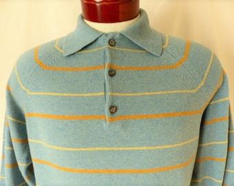 Alan Paine Robinson's vintage 60's heather light blue grey lamb's wool rib knit sweater mustard yellow horizontal stripes raglan big collar