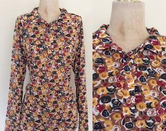 1970's Floral Print Cotton Poly Blouse Vintage Top Plus Size XL XXL by Maeberry Vintage