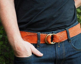 Tan Kangaroo Leather Plaited Belt with Brass Rings