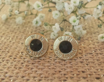 Midnight Cowboy 9mm Winchester Bullet Stud Earrings
