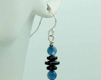 Kyanite & hematite orbit earrings